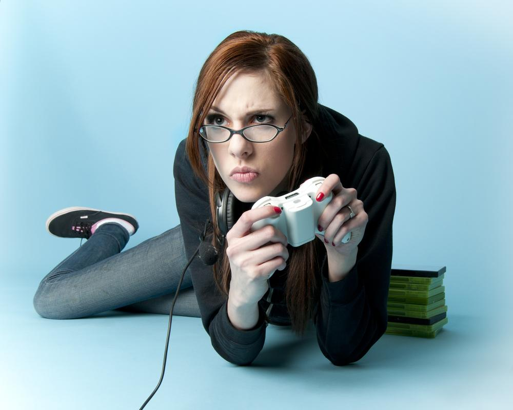 pretty girl playing video games