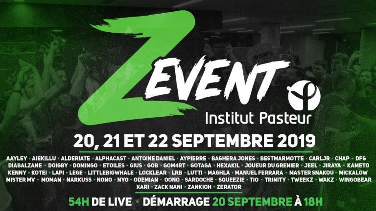 ZEVENT 2019 live stream marathon caritatif Institut Pasteur