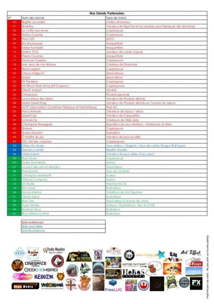 Liste stands Caramanga 2020