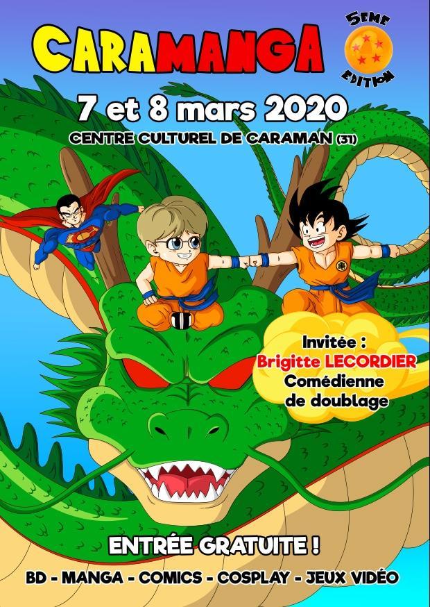 affiche Caramanga 2020 7 et 8 mars jeux vidéo manga cosplay bande dessinée science fiction