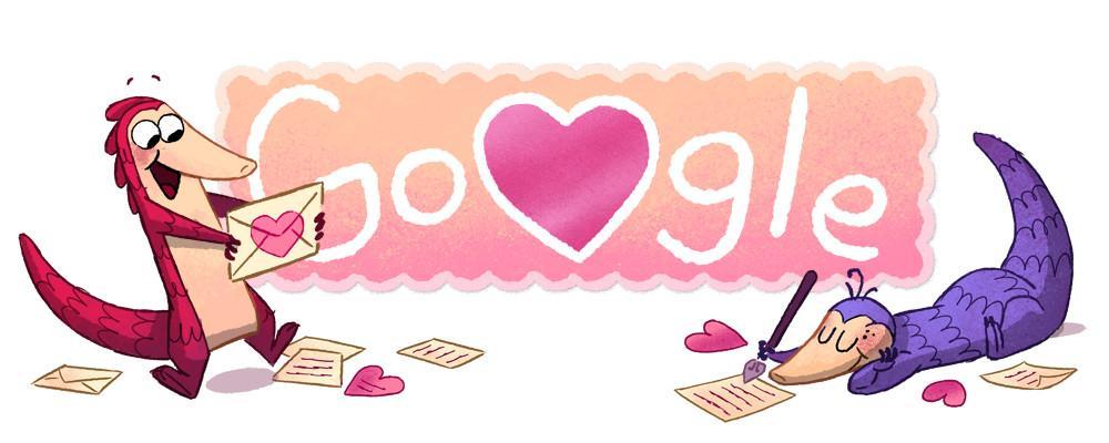 Doodle Google Saint Valentin 2017 pangolin