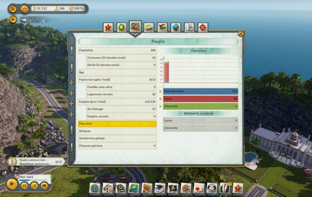 Tropico 6 filtres almanach peuple éducation Kalypso AK&CO jeu de gestion simulation dictature