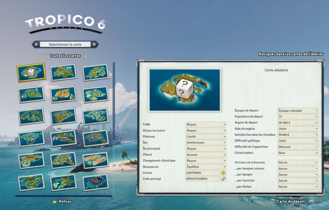 Tropico 6 filtres bac à sable Kalypso AK&CO jeu de gestion simulation dictature