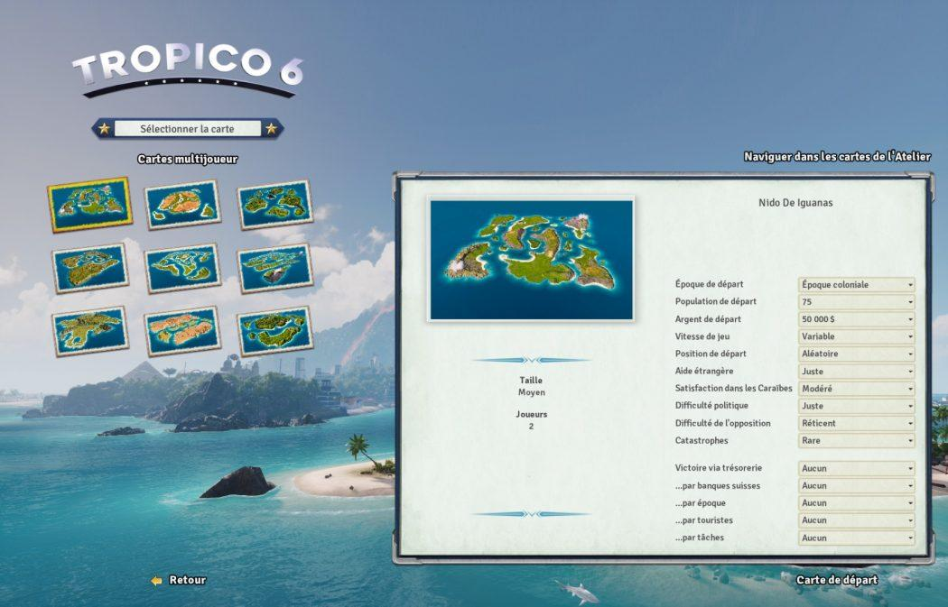Tropico 6 filtres cartes multijoueur Kalypso AK&CO jeu de gestion simulation dictature
