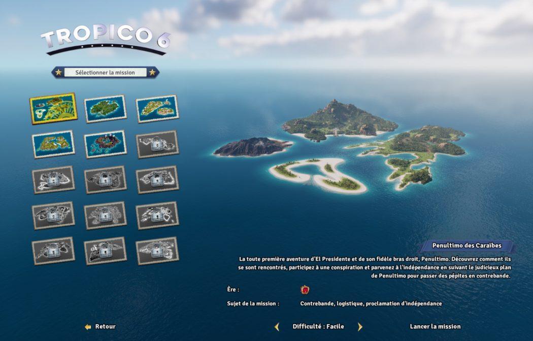 Tropico 6 filtres missions Kalypso AK&CO jeu de gestion simulation dictature