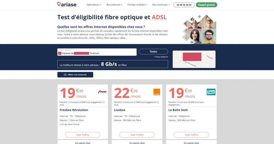 test éligibilité fibre adsl débit maximal théorique comparateur offres internet Ariase