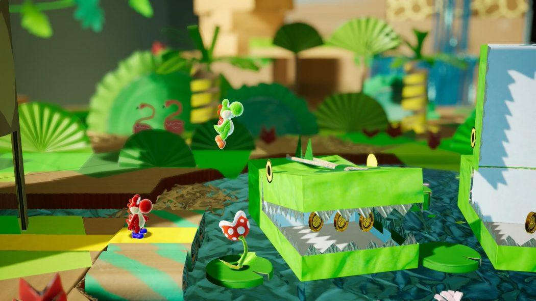 Yoshi's crafted world multijoueur multiplayer jumping character jeu de plateforme nintendo switch