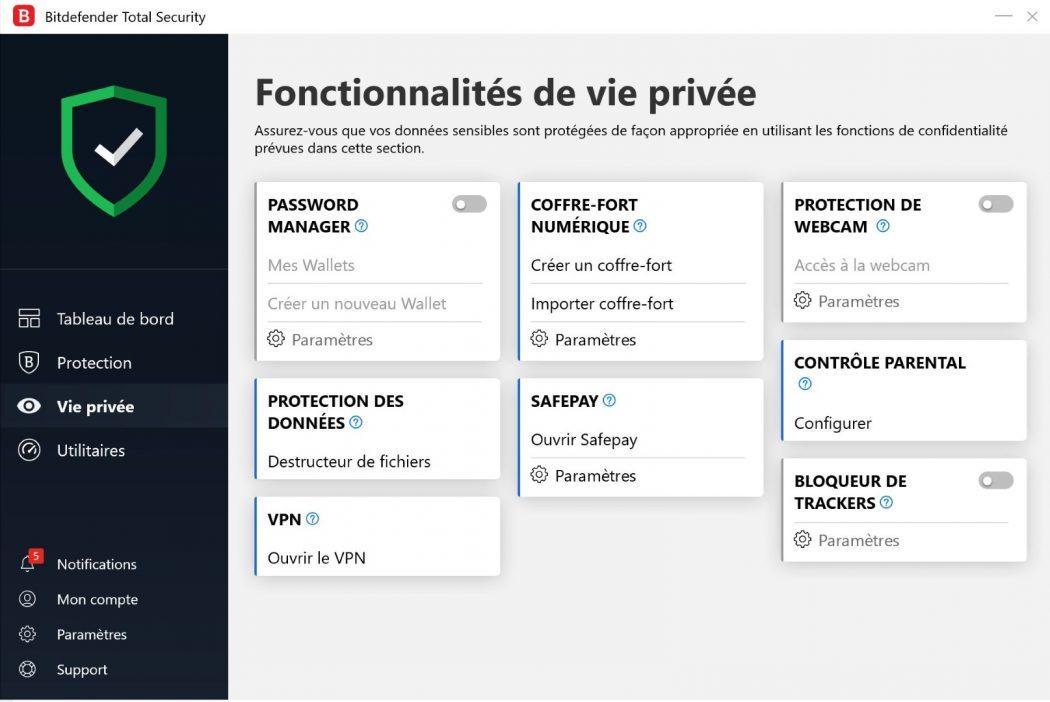 bitdefender total security protection données vie privée