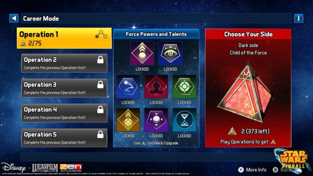 Star Wars Pinball Career Mode sélection mission pouvoirs côté de la force