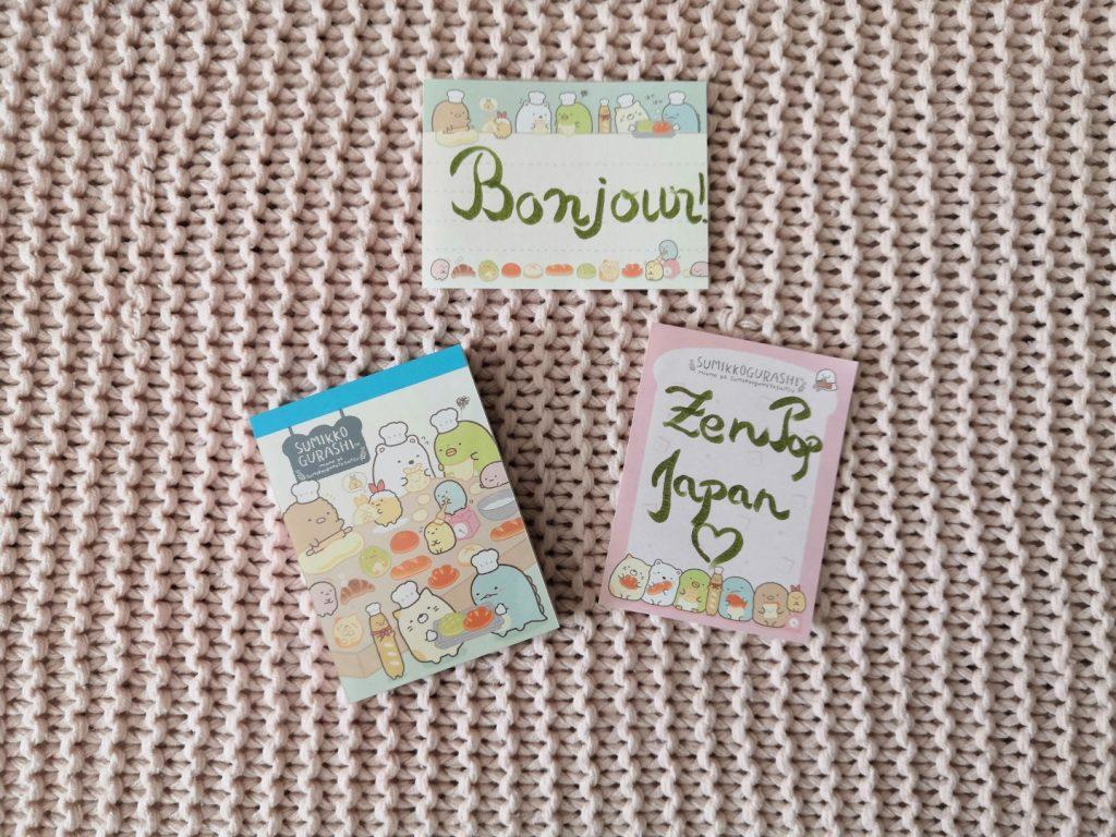 zenpop boulangerie de Sumikko novembre 2019 Kawaii Box Papeterie bullet journal bujo Sumikko Gurashi Memo Pad Bloc Notes