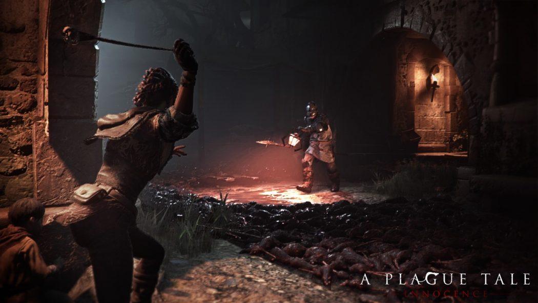 A Plague Tale Innocence Amicia attaque soldat lance pierres
