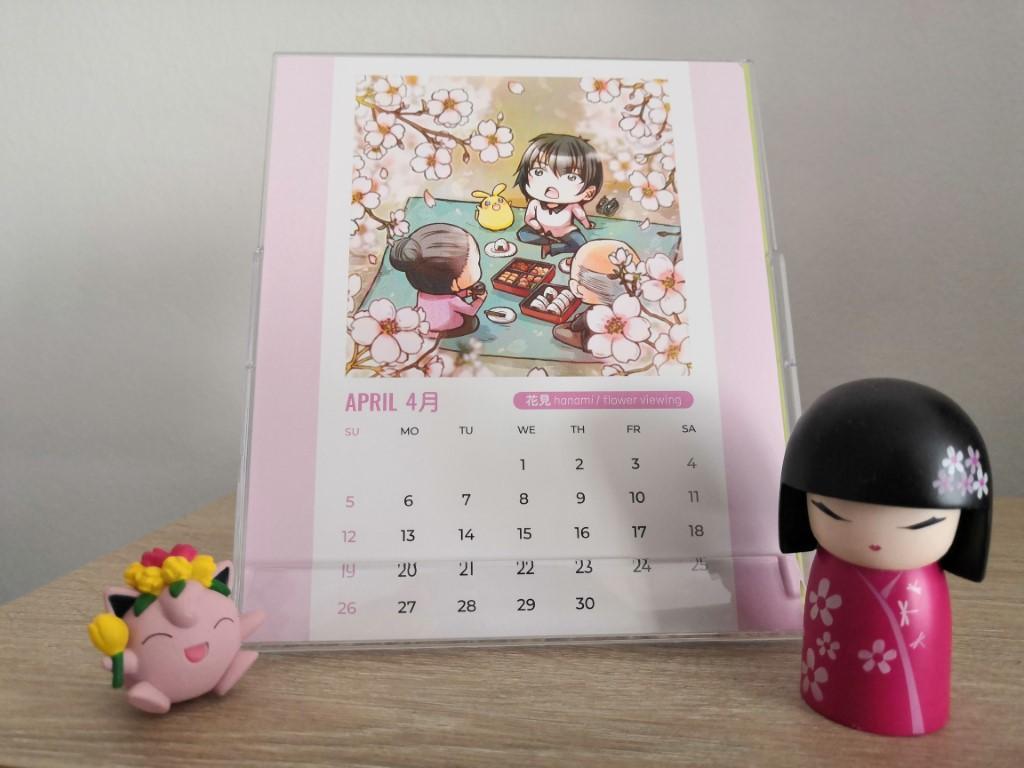 calendrier Luna avril april fleurs de cerisier cherry blossom hanami Zenpop Pack Papeterie Stationnery janvier 2020 voeux de bonheur