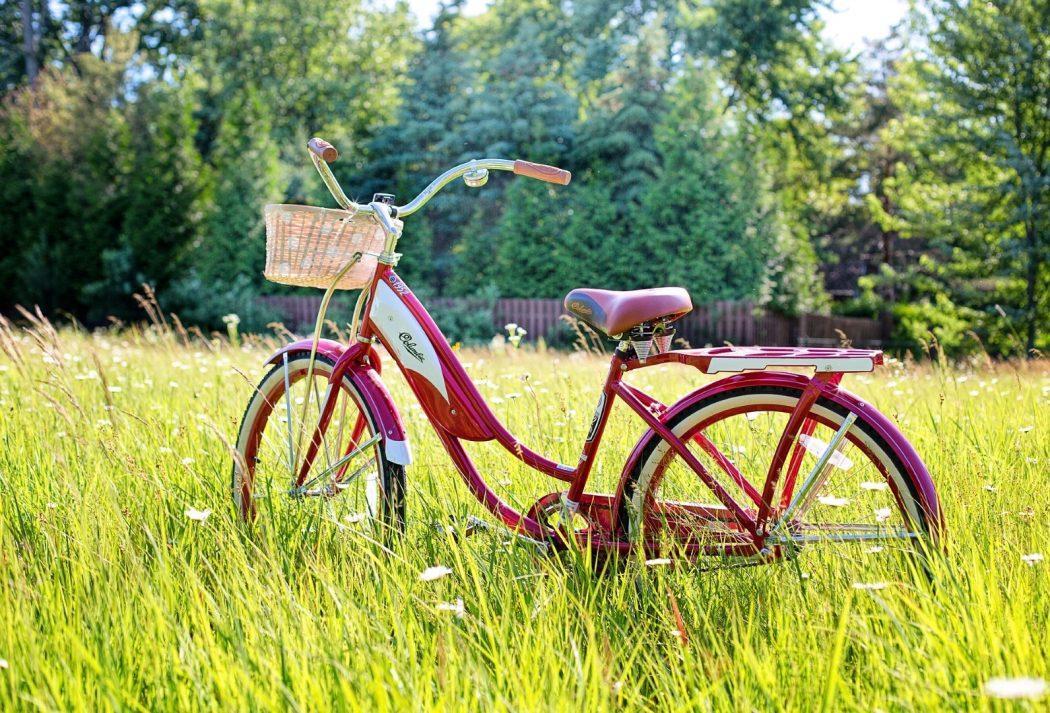 Vélo bicyclette rouge dans l'herbe Jill Wellington Pixabay