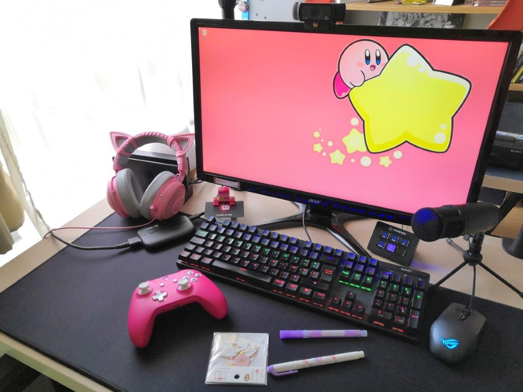 setup gaming streaming girly stream deck elgato xbox gamelab razer acer asus rog nacon
