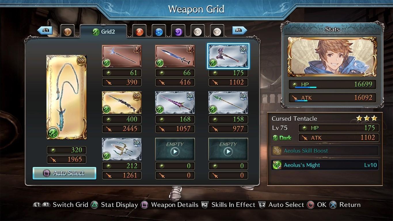 granblue fantasy versus jeu rpg combat liste armes