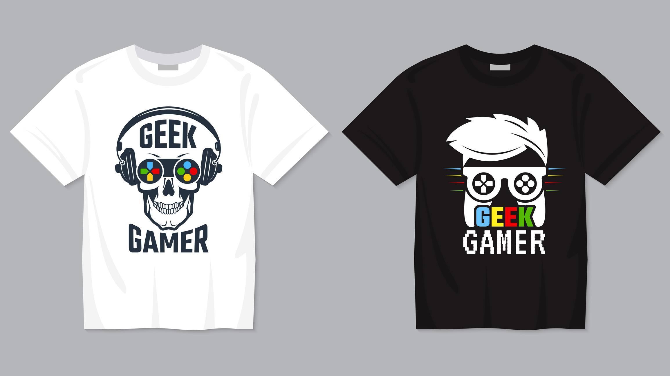 t shirt jeux video blanc noir geek gamer