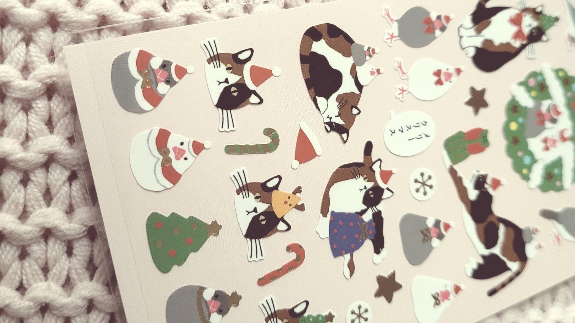 zenpop pack papeterie decembre joyeuses fetes stickers chats noel
